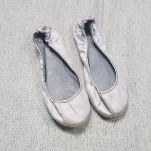 Shoes - Silver Satiny Flats